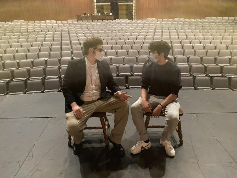 Pictured is Danny Maura, and Rohan Cheerla practicing for their play